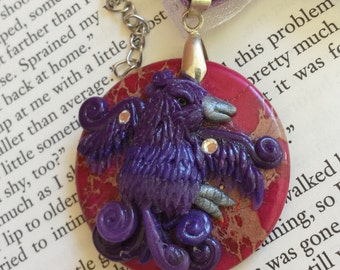 Purple Fantasy Bird on Pink Tinted Jasper with Swarovski Crystal Pendant Necklace - Hand Sculpted, OOAK