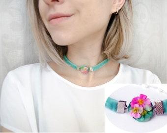 Choker Necklace Mint Statement Necklace Romantic Pinck Flowers Jewelry Boho choker, Victorian style choker, festival hippie boho chic choker
