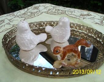 Ceramic White Lovebirds-Salt & Pepper Shaker Set-CIB Company For Cracker Barrel