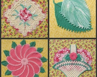 PDF Crochet Pattern- Decorative Thread Potholders   (25 different designs)