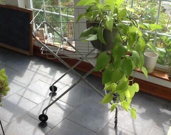 Vintage Laundry Cart /Metal Cart  /Garden Cart /Rolling Cart /Metal Basket / Farmhouse Clothesline Basket
