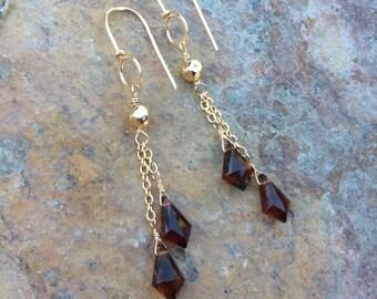 Hessonite GARNET Earrings, gold filled earrings, brown gemstone earrings, handmade earrings, January birthstone, AngryHairJewelry