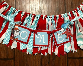 Dr seuss/ thing 1 thing 2 high chair skirt and small banner