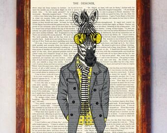 Zebra Art Print, Zebra with Glasses Print, Zebra Wall Art, Book Zebra Owl Print, Hipster Zebra Print, Digital Download