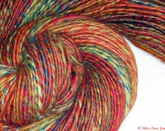 A Hippie's Summer Handspun Art Yarn - 182 yards - Thick and Thin Single - Crochet - Knit - Weave - Macrame - Felt - Fulling - Mixed Media