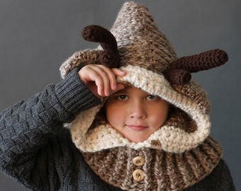 Crochet PATTERN Hooded Reindeer Cowl Crochet Hood Pattern Includes Sizes 1 Year to Adult