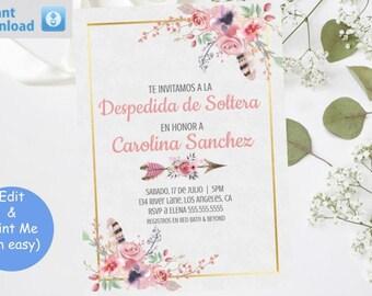 Invitación imprimible despedida de soltera flores rosas Template, Printable Floral Bridal Shower Invite invitation, instante, bordado oro