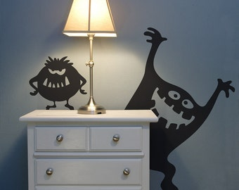 Curly and Moe Monster Wall Decals | afraid of the dark kids bedroom boys bedroom silly monsters inc wall art wall stickers wall decor