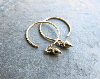 Solid 14k Gold Tiny Dew Drop Hoop Earrings - Small Geometric Hoop Earrings - Minimalist Yellow Gold Spike / Teardrop / Pear Open Hoop Dangle