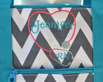 Custom Nurse Bag Stethoscope Chevron Nursing RN Tote Bag Gift Sister Personalized Custom Monogram