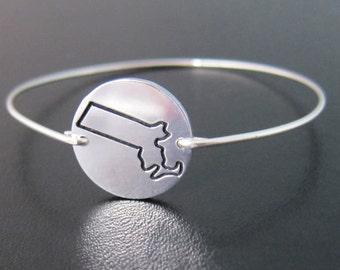 Massachusetts Bracelet, Massachusetts Bangle, Boston Bracelet, Boston Jewelry, Massachusetts Charm Bracelet, Cape Cod, Massachusetts Jewelry