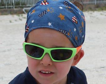 Child bandana 12-18M, gender neutral boy bandana READY to SHIP, baby headscarf, wide headband, hair wrap, patriotic USA flags stars, gift
