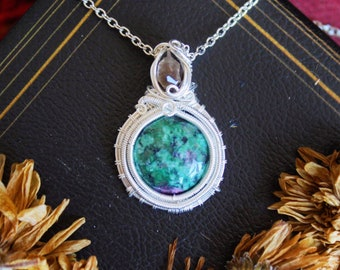 Green Zoisite and Smoky Quartz Silver Wire Wrap Pendant Necklace