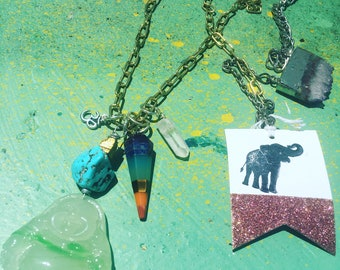 Jade Buddha Chakra Balancing Necklace with Amethyst Druzy and Pyrite