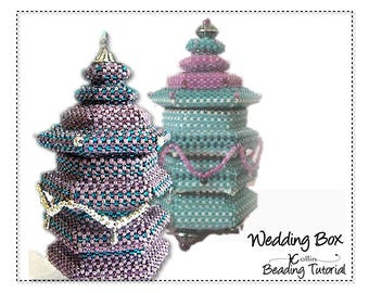 Peyote stitch Beading Pattern Instructions Tutorials, beaded Hexagonal Box with Tall Lid Delica Beads PDF  downloadable pattern WEDDING BOX