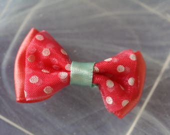 bow tie, salmon and blue polka dot patterned