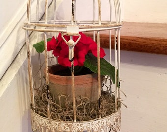 Red Floral Birdcage