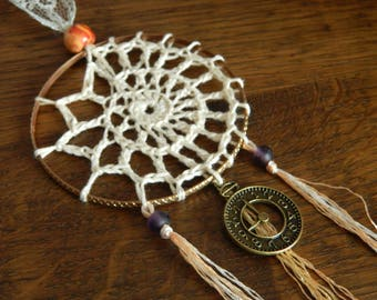 Crochet Dream Catcher - Handmade Lace Boho Hippy Hippie Shabby Chic Whimsical Clock Victorian Time Steampunk