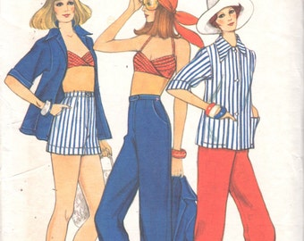 1970s Vogue 8886 Misses Summer Jacket Pants Cuffed Shorts Wrapped Halter Bra Top  Pattern Womens Vintage Sewing Size 10 Bust 32  UNCUT