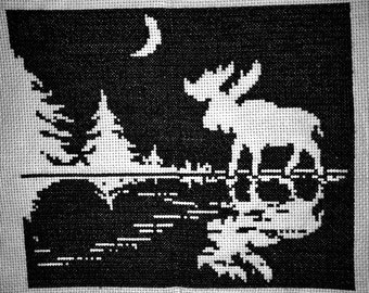 MOOSE SILHOUETTE Completed Cross Stitch Forest Lake Moon Finished