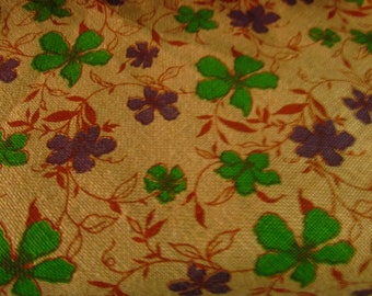"Jute  Burlap Fabric FLOWER PRINT 40"" Wide / Sold by the Yard"