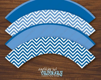 Blue Chevron Cupcake Wrappers, Printable Blue and White Cupcake Labels, INSTANT DOWNLOAD, digital file