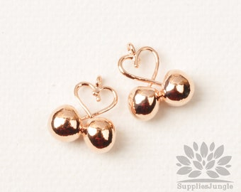 P953-RG// Rose Gold Plated Heart Cherry Pendant, 2pcs