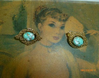 Sarah Cov Remembrance Marbled Turquoise Marcasite Clip On Earrings