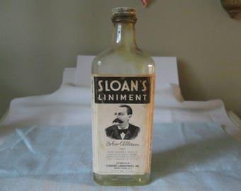 Vintage Sloan's Liniment Bottle  Dr Earl S Sloan  Standard Laboratories Inc  Collectible Clear Glass Bottle Old Medical Bottle  F946