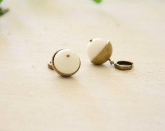 Jean Paul Cup and stone on brass hoop earrings