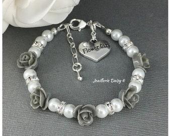 Flower Girl Gift Grey Flower Bracelet Flower Girl Bracelet Gray Bracelet Gift for Her Wedding Gift Idea for Flower Girl