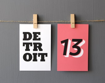 Detroit Modern Table Numbers Double Sided Wedding Party