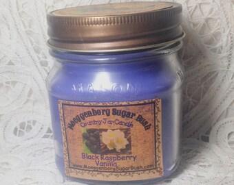 Jar Candle, Mason Jar, Black Raspberry Vanilla, 1/2 pint candle, container candle, Moeggenborg Sugar Bush