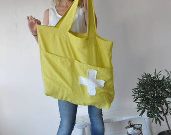 Linen bag natural linen oversize bag washed linen shoulder bag weekender sac cabas Large linen tote bag beach bag shopping bag