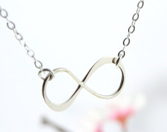 Silver Infinity Symbol Necklace, Best Friend Infinity, Silver Infinity Charm