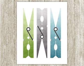 Watercolor Laundry Room Wall Art, Clothespin Printable Laundry Sign, Laundry Decor, Laundry Poster, Green Blue Gray 8x10 Instant Download