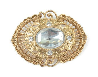 Clear Cabochon Filigree Brooch 1928 Jewelry Company Vintage Pin Victorian Revival Designer Jewelry