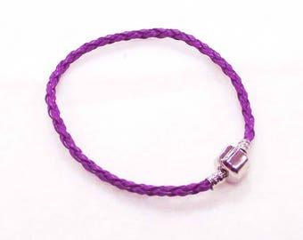 "20cm (8"") Braided Leather European Charm Bracelet in Grape Purple"