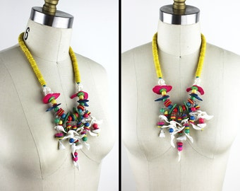 Rainbow Wood Beaded and Shell Necklace