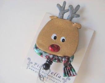 Christmas Rudolph reindeer Badge reel Alligator or belt/slide clip