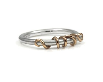 Silver and rose gold tendril ring - stacking ring - wedding ring