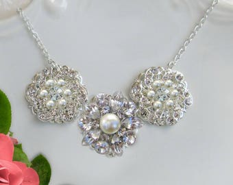 Bridesmaids statement necklace- bridesmaids jewelry- bridesmaids necklace- wedding statement jewelry- bridal- crystal rhinestone silver