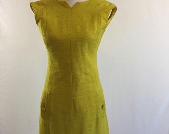 Mod 1960s Linen Sheath Dress/Chartreuse
