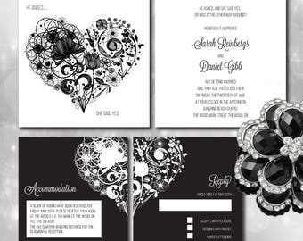 Black & White Wedding Invitation Set