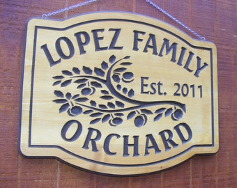 Family Farm Orchard Sign Northern  Cedar Carved Wood Sign    Personalized