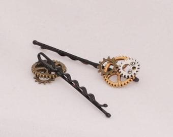 Steampunk Gear Hair pins Hair clips