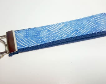 Indigo/Blue Jean blue with Chalk-like Motif Keychain FOB on Navy Blue Heavy Duty Cotton Webbing