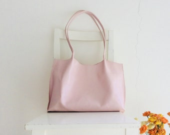Blush/ Nude/ Pale Pink Leather Tote Shoulder Bag