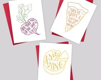 Love Card Trio – Valentine's Day Greeting Card, Beet, Brie, Pizza, Love, Anniversary, Birthday, Boyfriend, Girlfriend, Foodie, Handlettering