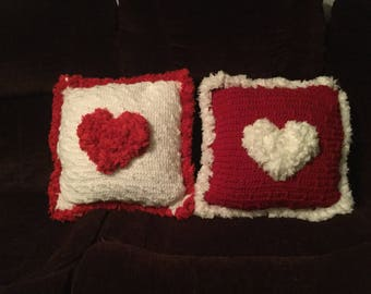 Valentine's Day Pillow- Lace Hearts And Trim- Perfect Gift For Your Loved Ones! <3